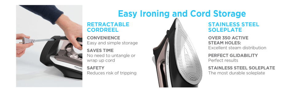 Rowenta DW2459 Access Steam Iron with Retractable Cord feature